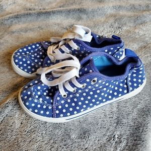 Canvas sneakers blue white girl 13 new dots shoes
